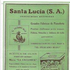 Coleccionismo: AÑO 1927 PUBLICIDAD SANTA LUCIA SANTANDER PANADERIA EL PELICANO ROJO PASTA SOPA ACEITE LA EXCLUSIVA. Lote 144118414