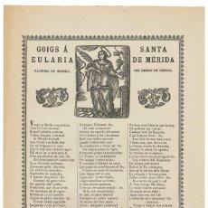 Coleccionismo: GOIGS- GOZOS.- SANTA EULARIA DE MÉRIDA. BEGUDÁ. IMP. CARRERAS. GERONA . Lote 144241366