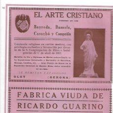 Coleccionismo: AÑO 1927 PUBLICIDAD EL ARTE CRISTIANO OLOT BAYREDA BASSOLS CASSABO Y COMPAÑIA ESTATUARIA RELIGIOSA. Lote 144898550
