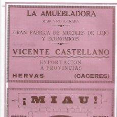 Coleccionismo: AÑO 1927 PUBLICIDAD CONSERVAS DE SARDINAS MIAU BERNARDO ALFAGEME CANDAS VIGO. Lote 145126790