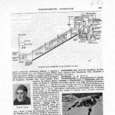 Coleccionismo: LÁMINA ESPASA + 60 AÑOS ANTIGÜEDAD - ESQUEMA INSTALACIÓN FONICULAR TERRESTRE. Lote 145175998