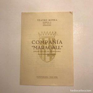 Teatro Romea. Programa de mano. Compañía Maragall. Premio Nacional de Teatro, 1953