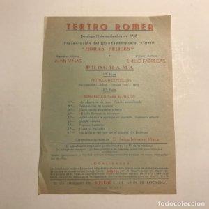 Teatro Romea. Programa de mano. Horas felices. 1956