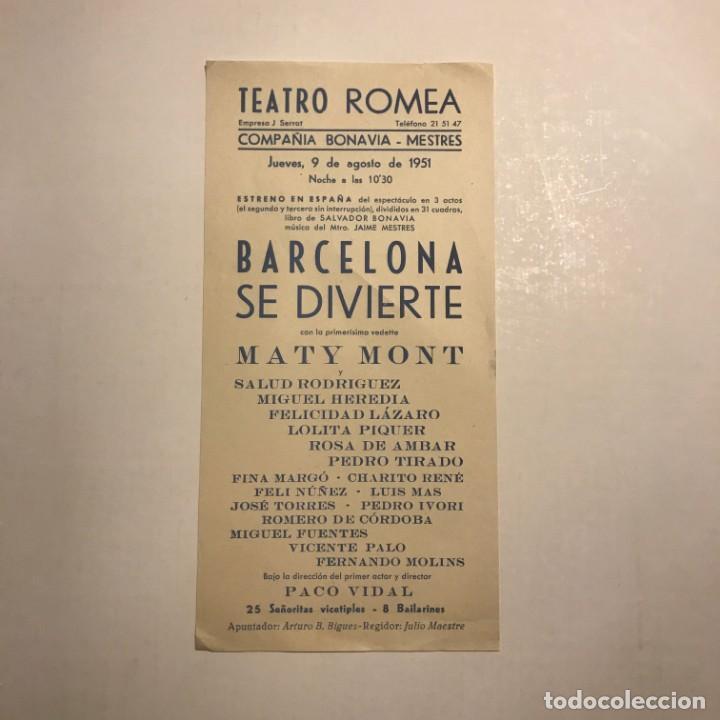 TEATRO ROMEA. PROGRAMA DE MANO. BARCELONA SE DIVIERTE. 1951 (Coleccionismo - Laminas, Programas y Otros Documentos)