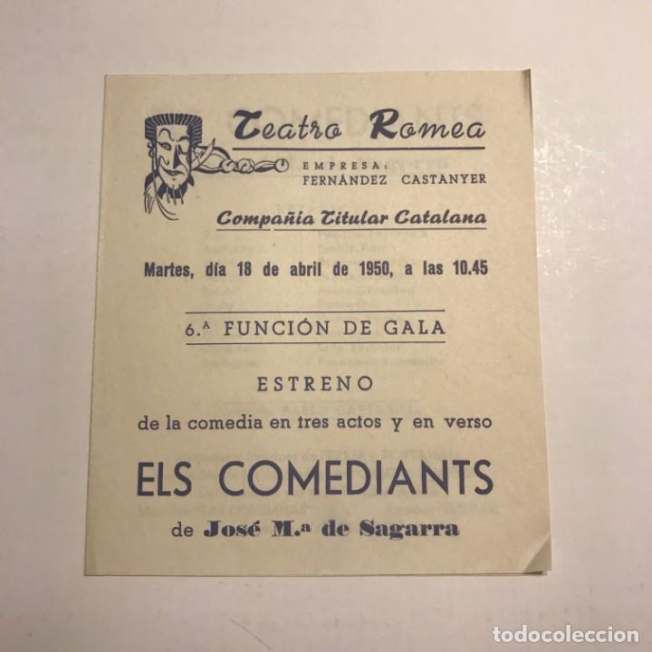 TEATRO ROMEA. PROGRAMA DE MANO. ELS COMEDIANTS. 1950 (Coleccionismo - Laminas, Programas y Otros Documentos)