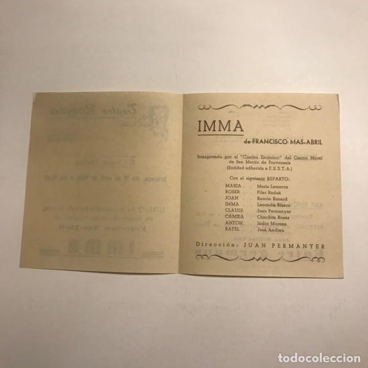 Coleccionismo: Teatro Romea. Programa de mano. Imma. 1950 - Foto 2 - 145208074