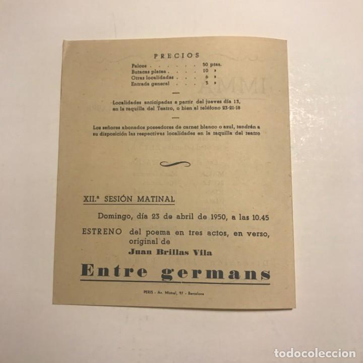 Coleccionismo: Teatro Romea. Programa de mano. Imma. 1950 - Foto 3 - 145208074