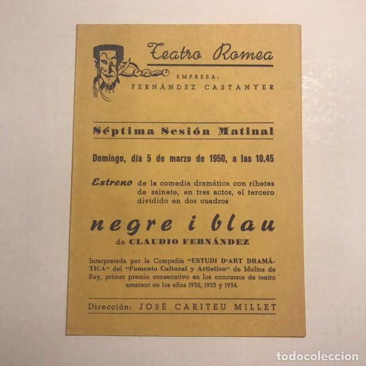 TEATRO ROMEA. PROGRAMA DE MANO. NEGRE I BLAU. 1950 (Coleccionismo - Laminas, Programas y Otros Documentos)