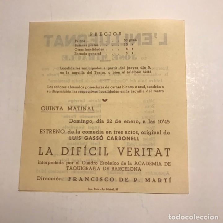 Coleccionismo: Teatro Romea. Programa de mano. Lenlluernat. 1950 - Foto 3 - 145208342
