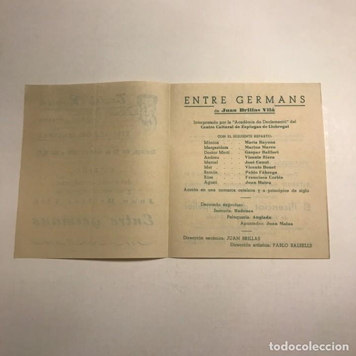 Coleccionismo: Teatro Romea. Programa de mano. Entre germans. 1950 - Foto 2 - 145208858