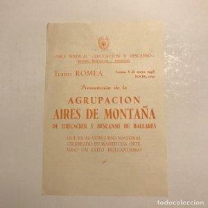 Teatro Romea. Programa de mano. Agrupación Aires de montaña. 1946