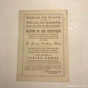 Teatro Romea. Programa de mano.Bodas de plata.