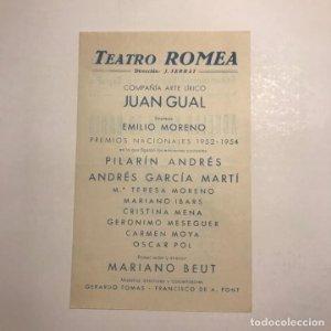 Teatro Romea. Programa de mano. Aquella noche en la bahía. 1955