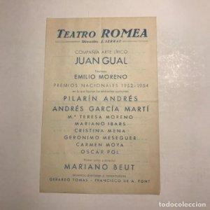 Teatro Romea. Programa de mano. Semana de los grandes programas del 12 al 18 de septiembre de 1955