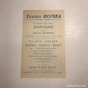 Teatro Romea. Programa de mano. Semana de los grandes programas del 19 al 25 de septiembre de 1955