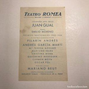 Teatro Romea. Programa de mano. Semana de los grandes programas del 5 al 11 de septiembre de 1955