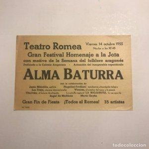 Teatro Romea. Programa de mano. Alma baturra. 1955