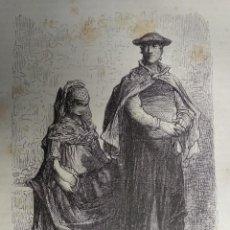 Coleccionismo: GRABADO. CAMPESINOS GUIPUZCOANOS. VIAJE POR ESPAÑA. 1878. Lote 145256866