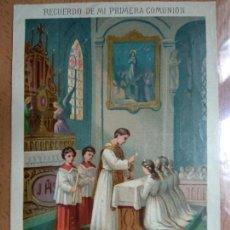 Collezionismo: LAMINA RECUERDO PRIMERA COMUNION, 19X12,5, IGLESIA, FINALES SIGLO XIX. Lote 145737018