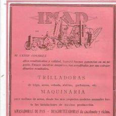 Coleccionismo: AÑO 1927 PUBLICIDAD IMAD HIJOS DOMINGO GOMEZ VALENCIA TRILLADORA MAQUINARIA MOLEDORAS DE PIENSOS. Lote 145771170