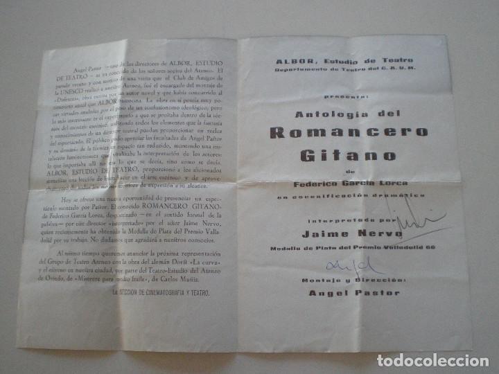 Coleccionismo: FEDERICO GARCIA LORCA - Romancero Gitano - PROGRAMA ALBOR ESTUDIO DE TEATRO 1967 - Foto 2 - 145889966