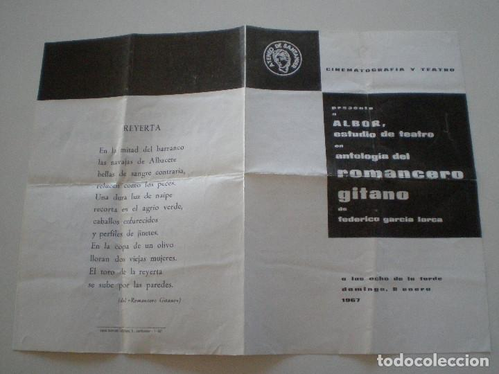 Coleccionismo: FEDERICO GARCIA LORCA - Romancero Gitano - PROGRAMA ALBOR ESTUDIO DE TEATRO 1967 - Foto 3 - 145889966