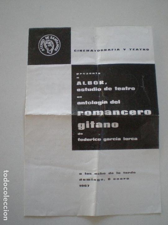 FEDERICO GARCIA LORCA - ROMANCERO GITANO - PROGRAMA ALBOR ESTUDIO DE TEATRO 1967 (Coleccionismo - Laminas, Programas y Otros Documentos)