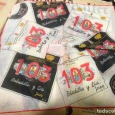 Coleccionismo: ANTIGUO PAÑUELO PUBLICIDAD BRANDY 103 - MEDIDA 30X30 CM. Lote 146112190