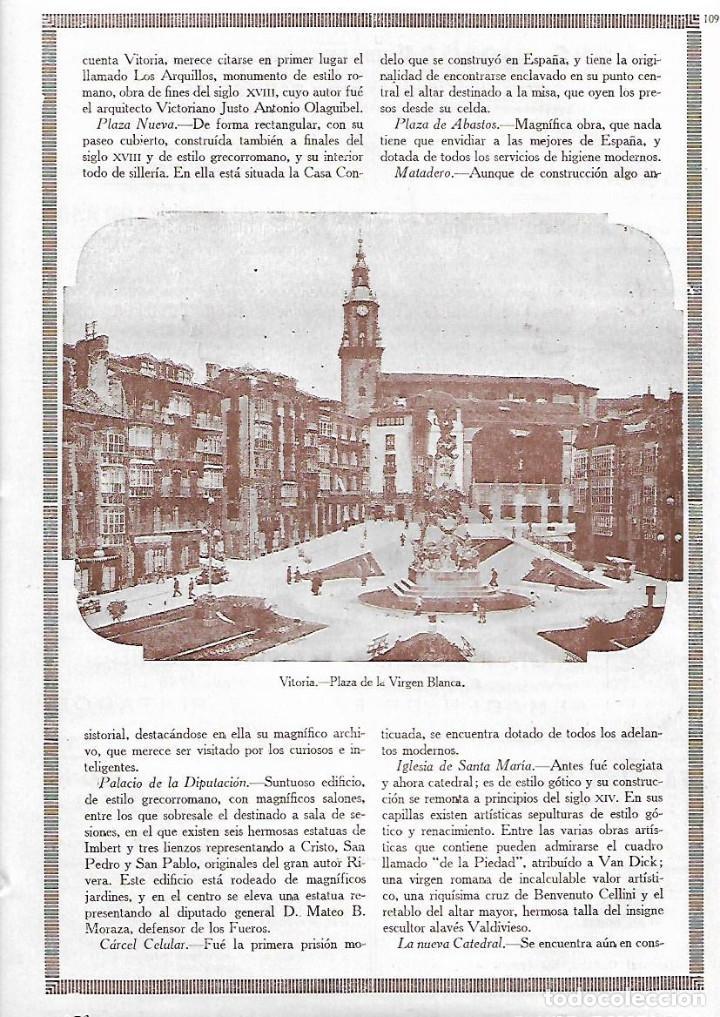 AÑO 1927 RECORTE PRENSA FOTOGRAFIA DE LA PLAZA DE LA VIRGEN BLANCA DE VITORIA (Coleccionismo - Laminas, Programas y Otros Documentos)