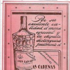 Coleccionismo: AÑO 1927 PUBLICIDAD BEBIDAS ANIS LAS CADENAS ESPARZA VILLAVA NAVARRA. Lote 146133142