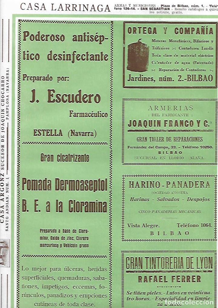 AÑO 1927 PUBLICIDAD ANTISEPTICO FARMACEUTICO J ESCUDERO ESTELLA POMADA DERMOASEPTOL NAVARRA (Coleccionismo - Laminas, Programas y Otros Documentos)