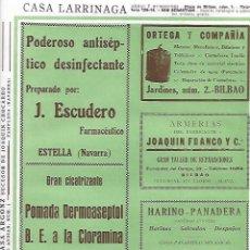 Coleccionismo: AÑO 1927 PUBLICIDAD ANTISEPTICO FARMACEUTICO J ESCUDERO ESTELLA POMADA DERMOASEPTOL NAVARRA. Lote 146134422