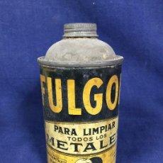 Coleccionismo: ANTIGUO BOTE HOJALATA FULGOR LIMPIA METALES BIDÓN Nº 4 FABRICADO EN SANTANDER S XX. Lote 146226946