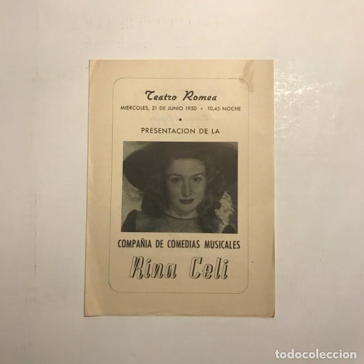 TEATRO ROMEA. PROGRAMA DE MANO. RINA CELI. 1950 (Coleccionismo - Laminas, Programas y Otros Documentos)