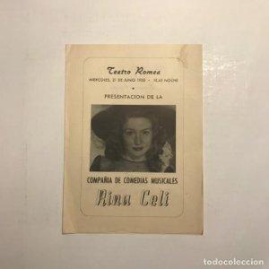 Teatro Romea. Programa de mano. Rina Celi. 1950