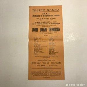 Teatro Romea. Programa de mano.Don Juan Tenorio. 1956