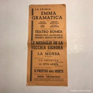 Teatro Romea. Programa de mano. Emma Gramatica. Le medaglie de la vecchia signora. La morsa.