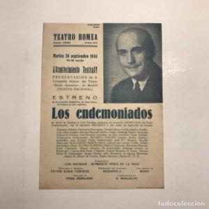 Teatro Romea. Programa de mano. Los endemoniados, 1944