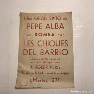 Teatro Romea. Programa de mano. Pepe Alba. Les chiques del barrio