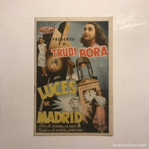Teatro Romea. Programa de mano. Trudi Bora. Luces de Madrid