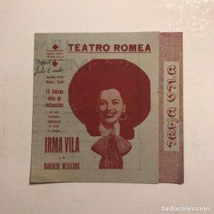 Teatro Romea. Programa de mano. Irma Vila