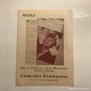 Teatro Romea. Programa de mano. Comedie Française