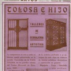 Coleccionismo: AÑO 1927 PUBLICIDAD TOLOSA E HIJO TALLER CERRAJERIA ARTISTICA CASA TOLOSA ZARAGOZA REPUJADO FORJA. Lote 146616206
