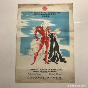 Teatro Romea. Programa de mano. Fiestas de la merced 1953. El caballero de Olmedo