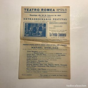 Teatro Romea. Programa de mano. La ferida lluminosa. Mary Santpere. 1955