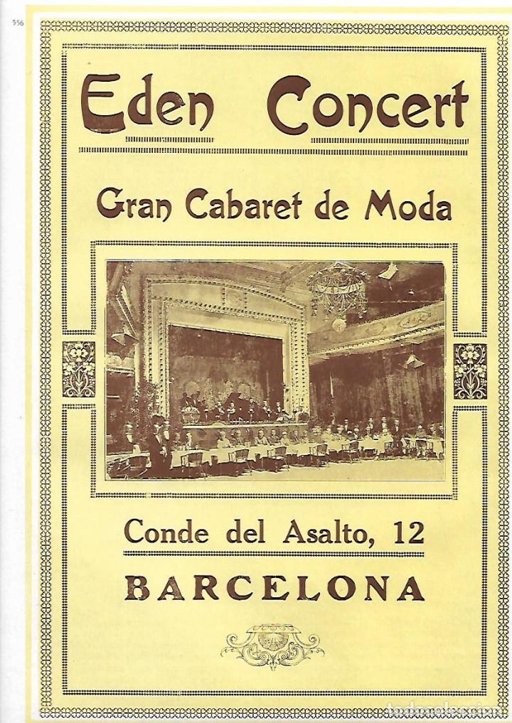 AÑO 1927 PUBLICIDAD EDEN CONCERT GRAN CABARET DE MODA TEATRO SALA DE FIESTAS BARCELONA CONDE ASALTO (Coleccionismo - Laminas, Programas y Otros Documentos)
