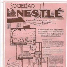 Coleccionismo: AÑO 1927 PUBLICIDAD SOCIEDAD NESTLE LECHE CONDENSADA LA LECHERA ALIMENTACION. Lote 146789210