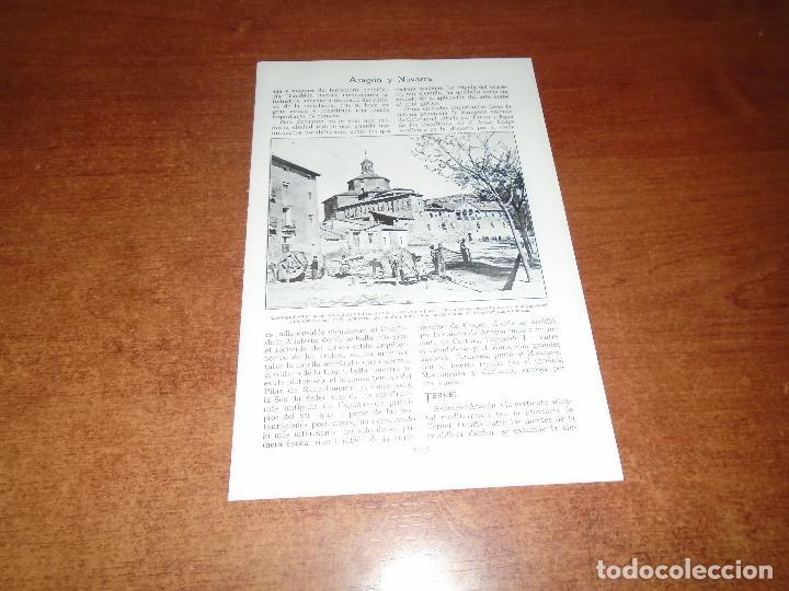 LÁMINA DE LIBRO ANTIGUO: CALATAYUD, IGLESIA DE SAN ANDRÉS Y FABRICANTES DE CUERDAS - TERUEL (Coleccionismo - Laminas, Programas y Otros Documentos)