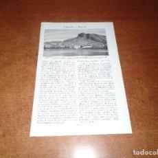 Coleccionismo: LÁMINA DE LIBRO ANTIGUO: VISTA PARCIAL DE ALICANTE Y EL CASTILLO DE SANTA BÁRBARA.. Lote 146808210