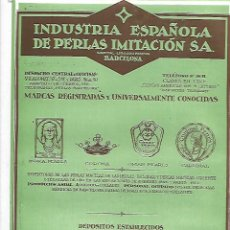 Coleccionismo: AÑO 1927 PUBLICIDAD INDUSTRIA ESPAÑOLA PERLAS IMITACION CORONA INDRA PEARLS OMAR CARDINAL BARCELONA. Lote 146916370